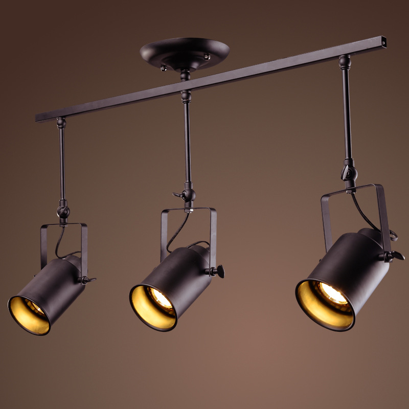 Us 56 0 Aliexpress Retro Led Indoor Track Light Fixture Black Metal Rail Angle Adjule Spotlight Ceiling Lamp Clothes Showrooms