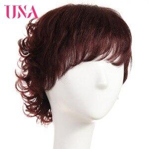 Image 2 - Женские вьющиеся парики UNA Non Remy, 150% плотность #1 # 1B #2 #4 #27 #30 #33 # 99J # mt #350 #2/33