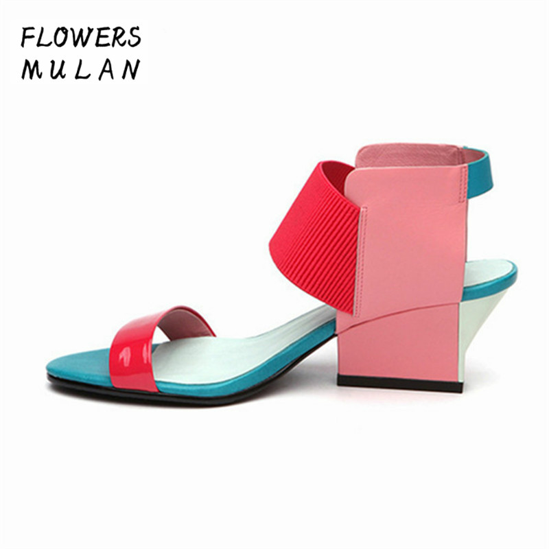Designer New Mixed Color Women Shoes Gladiator Summer Leather Sandals 2018 High Heels Valentine Shoes Woman Female Wedge Sandal new summer sandal high heel women thick bottom female sandals casual shoes fashion leather sandal comfortable sweet cute woman