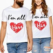 New Women Men 2019 Cotton Short Sleeve Top Creative Letter Print Love Couple Clothes T Shirt Casual Lover Camisetas Feminina