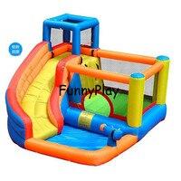 Крытый Детские площадки для детей с бесплатным воздуходувки ce, бесплатная доставка надувные мини хвастун слайд, прыжки замок с горкой и бас