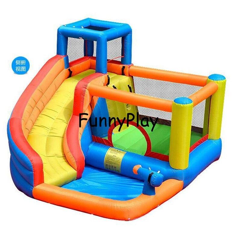 Aire de jeux intérieure pour enfants avec ventilateur CE gratuit, livraison gratuite Mini toboggan gonflable, château de saut avec toboggan et piscine