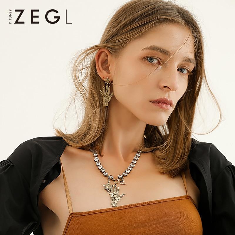 Takı ve Aksesuarları'ten Sallantılı kolye'de ZEGL hip hop abartılı dekoratif kolye kişiselleştirilmiş kadın klavikula zincir moda kolye giyim aksesuarları kolye'da  Grup 1