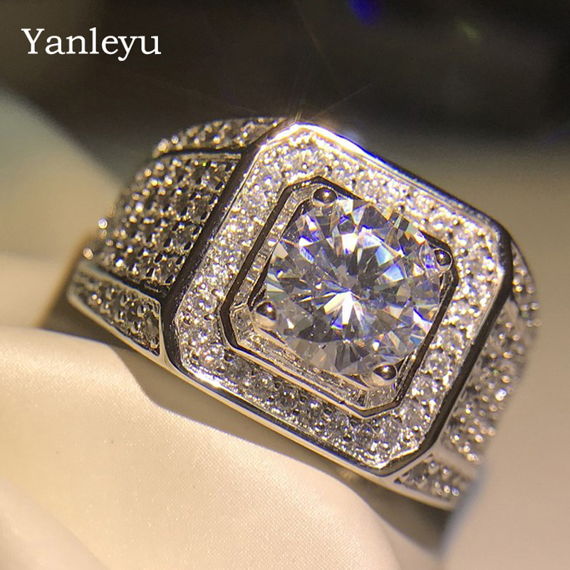 Luxury Men Rose Gold Filled Wedding Ring 2Ct Zirconia Jewelry Gift for Party