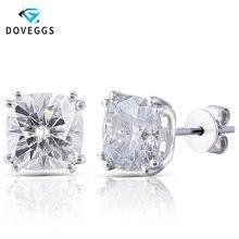 DovEggs 14K White Gold 4ctw 7.5*7.5mm GH Near Colorless Cushion Cut Moissanite Diamond Stud Earrings For Women Earring Gift