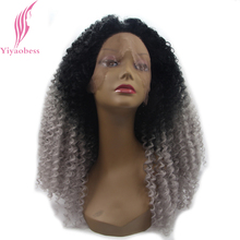 Yiyaobess Medium Length HairStyles Kinky Curly Lace Front Wig Synthetic Black Red Party Wigs For African American Women