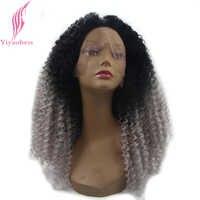 Yiyaobess Rot Schwarz Grau Ombre Spitze Front Perücke Synthetische 180% Dichte Medium Lange Rot Blonde Verworrene Lockige Haar Perücken für frauen