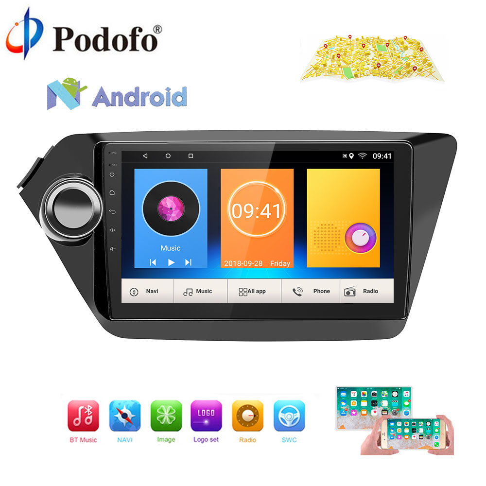 Podofo GPS Navigation Car Radio Android Multimedia Player 2 Din Audio Stereo MP5 WIFI Autoradio No DVD For Kia K2 RIO 2013-2018