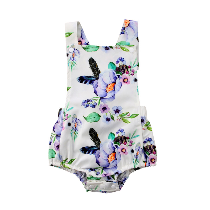 2018 Summer Newborn Baby Girls Romper Fashion Kids Girls Floral Printed Romper Sleeveless Bebes Jumpsuit Playsuit Baby Clothing