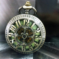 Big Arabic Number Hollow Cross Design Vintage Cut Out Bronze Mechanical Pocket Watch