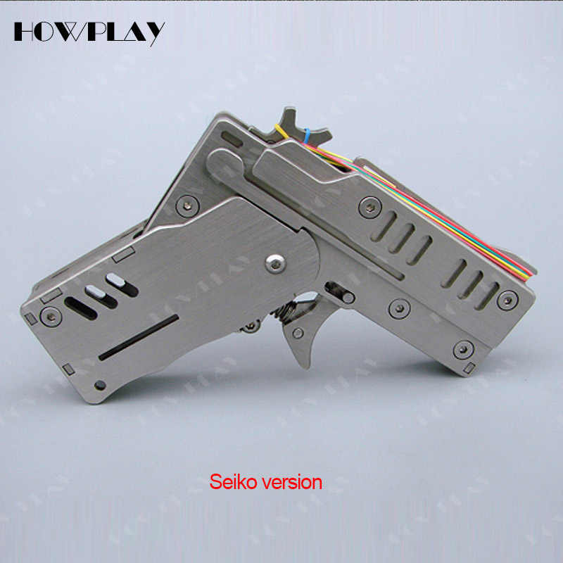 HowPlay rubber band Gun Metal Mini toy guns Folding 6 bursts Of Bullets Shoot toy gun boy toy boyfriend gift toy pistol gun