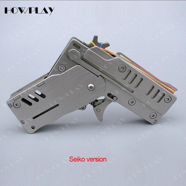 Rubber band Gun Metal Mini armas de brinquedo Dobrável 6 HowPlay Disparar rajadas De Balas arma de brinquedo brinquedo do menino presente de namorado pistola de brinquedo arma