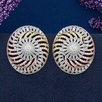 ModemAngel Dazzling Big Round Shape Flower AAA Cubic Zirconia Women Wedding Party Fashion Jewelry Earrings