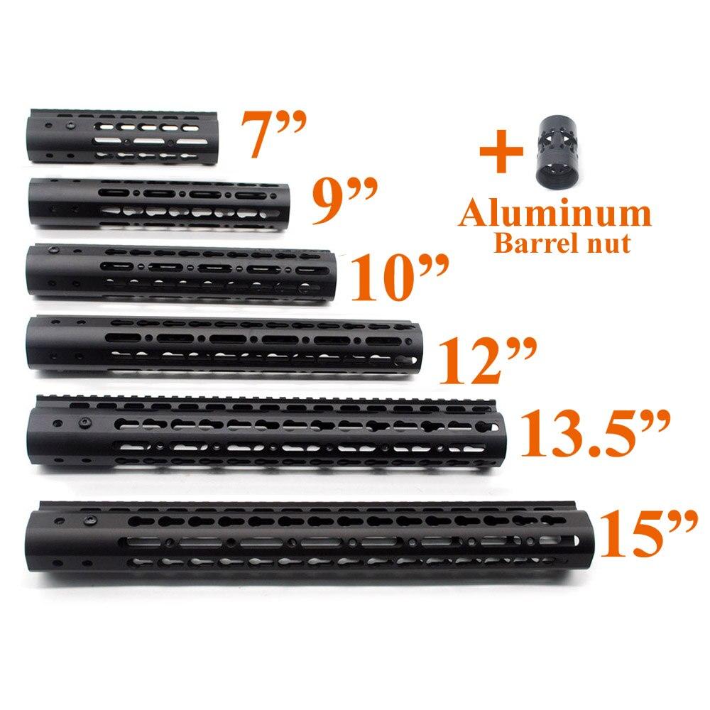 Noir Slim Style 7 9 10 12 13.5 15 AR15 Free Float Keymod Handguard Picatinny Rail pour La Chasse Tactique Portée de Fusil de Montage