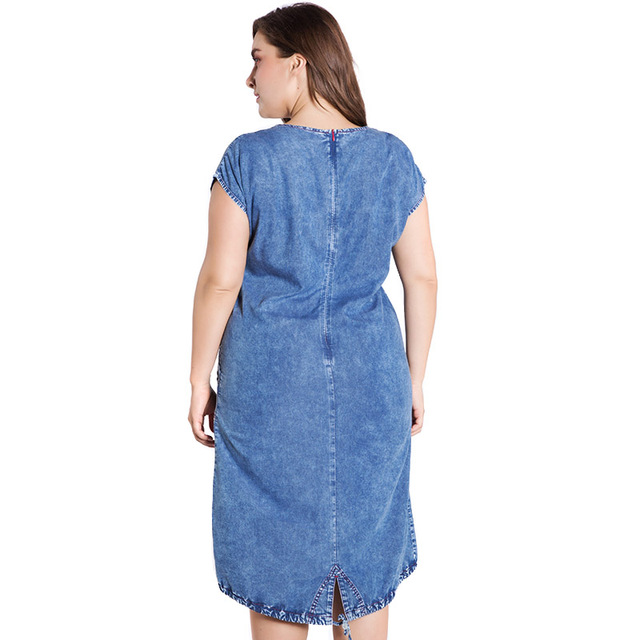 Summer ladies Plus Size denim dress for women clothes Round Neck Pockets elegant  4xl 5xl 6xl Large Size party Dress 1