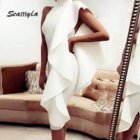 Seamyla 2017 Newest Summer Dress Women Knee Length Sexy Sleeveless Ruffles Bodycon Vestidos Elegant Celebrity Party