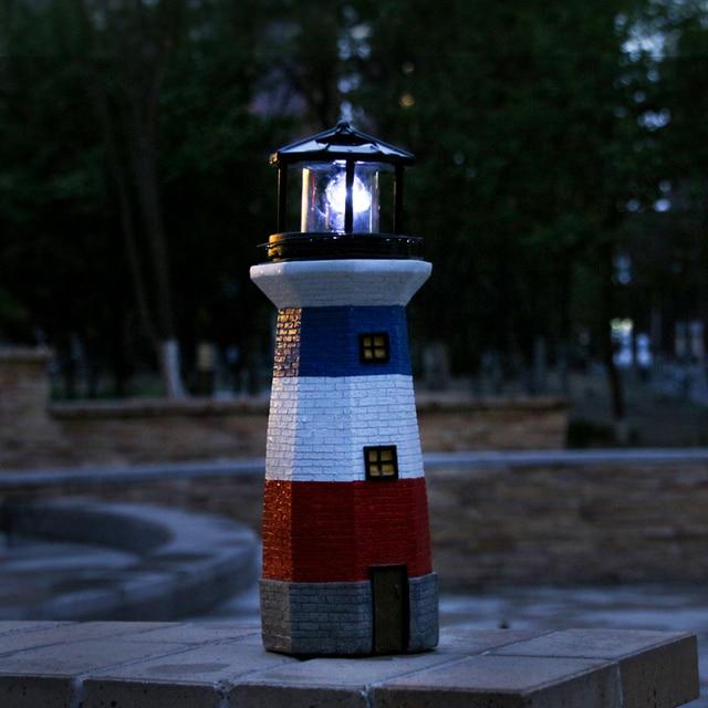 Solar Led Lights 38 Cm High Rotating Lighthouse Ed Fairy For Outdoor Garden Fence Summer Decoration Light