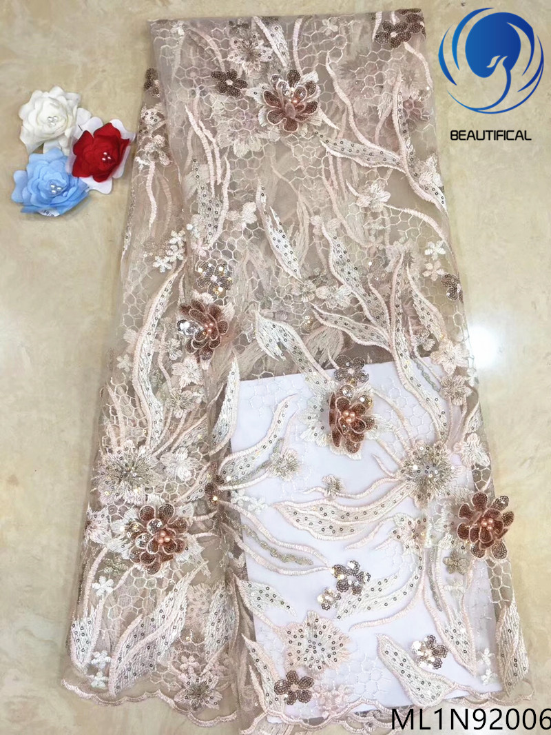 BEAUTIFICAL 3d flower lace embroidered beads sequins french net tulle african lace ML1N920BEAUTIFICAL 3d flower lace embroidered beads sequins french net tulle african lace ML1N920