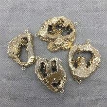 My0409 agates geode צורה חופשית druzy פרוס צבע זהב מצופה מחבר, titanium שורת זהב לוח תליון