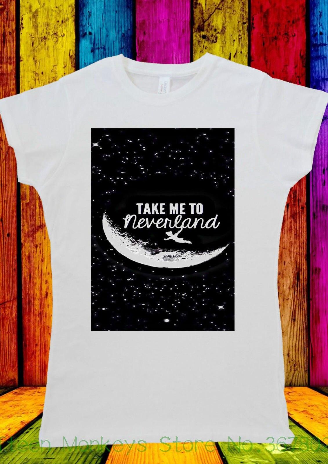 Womens Tee Peter Pan Neverland Star Quotes T-shirt Men Women Unisex 332 European Style Hip Hop S - Xl
