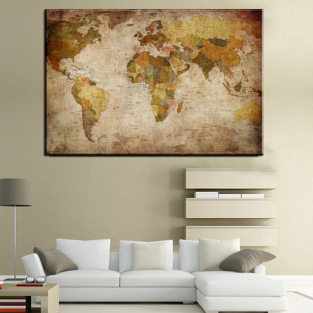 Aliexpress buy xll218 vintage world map canvas painting oil xll218 vintage world map canvas painting oil painting print on canvas home wall art mural pictures gumiabroncs Image collections