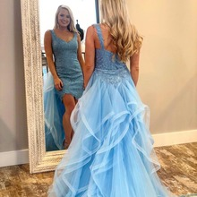 COMELKOALA Blue Mermaid Prom Dress Mini Sweep Train