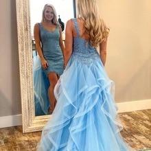 COMELKOALA Blue Mermaid Prom Dress Mini Sweep Train
