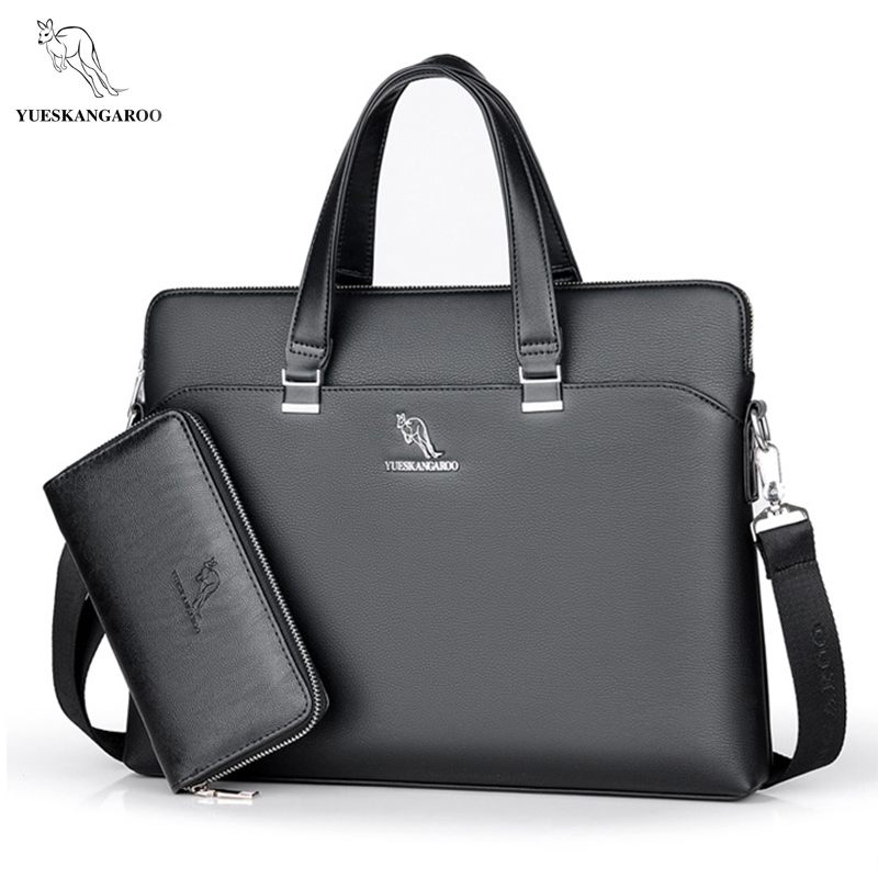 YUES KANGAROO Men Bag Brand Casual Messenger Bag Briefcase Business Leather Laptop Handbag Men's High Quality Shoulder Bag yues kangaroo brand men bag leather casual high quality shoulder crossbody bags classical business briefcase mens messenger bag