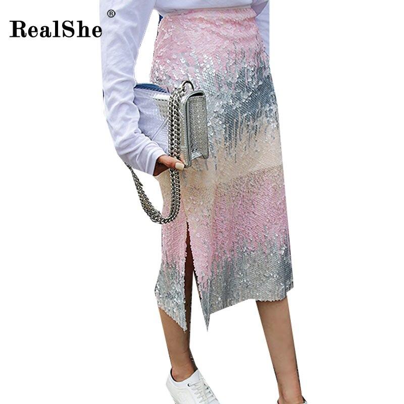 RealShe 2018 moda Otoño mujer falda dama lentejuelas hendidura de faldas falda lápiz Mujer Plus tamaño Sexy Bodycon Midi falda