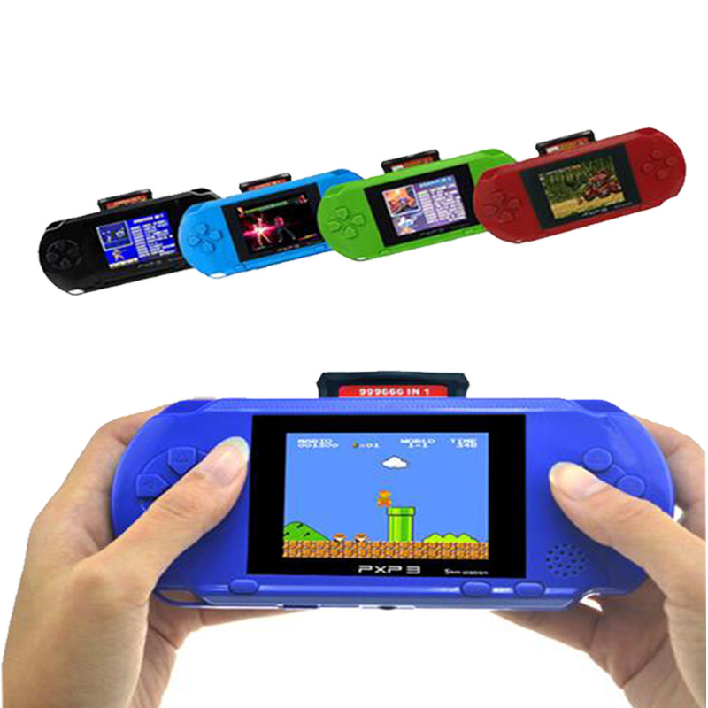 3 Inch 16 Bit PXP3 Slim Station Video Games Player Handheld Game With 2pcs Game Card Console built-in 150 Classic Games image