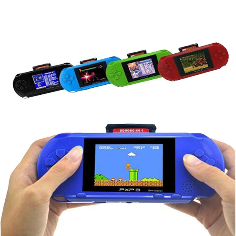 3 tommers 16 bit PXP3 Slim Station Videospil afspiller Håndholdt spil med 2 stk. Spilkort Console indbygget 150 Classic Games
