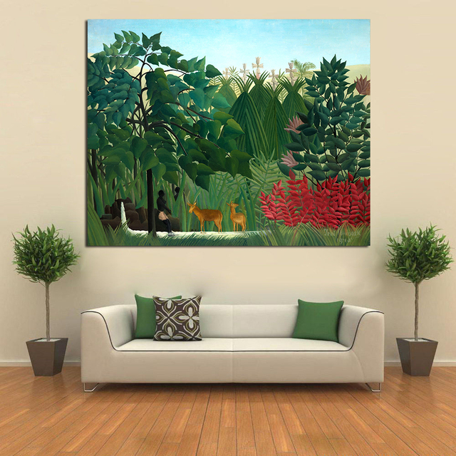 JQHYART Primitivism Oil Painting Henri Rousseau The Waterfall Home Decor Wall Pictures For Living Room Canvas Art Printed
