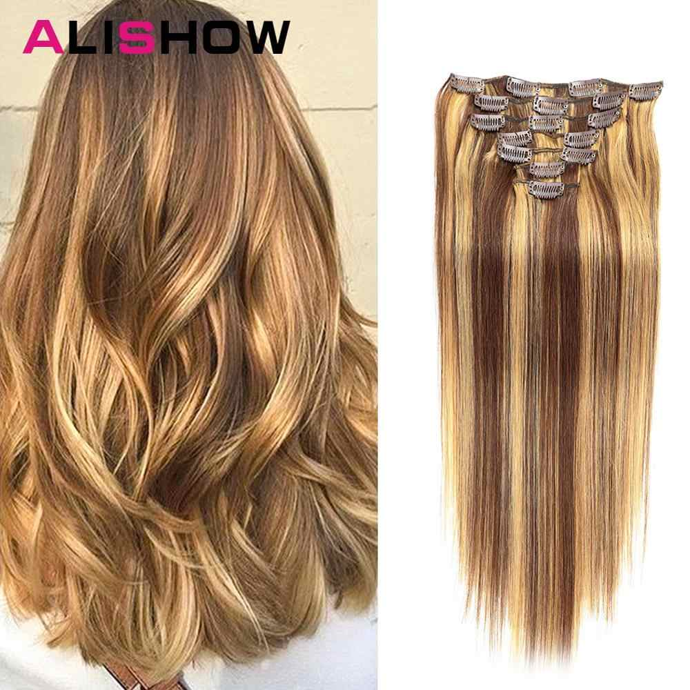 Alishow Clip In Human Hair Extensions Straight Set 7pcs 100g Machine Made Remy Hair Clip Ins 100% Human Hair Extension