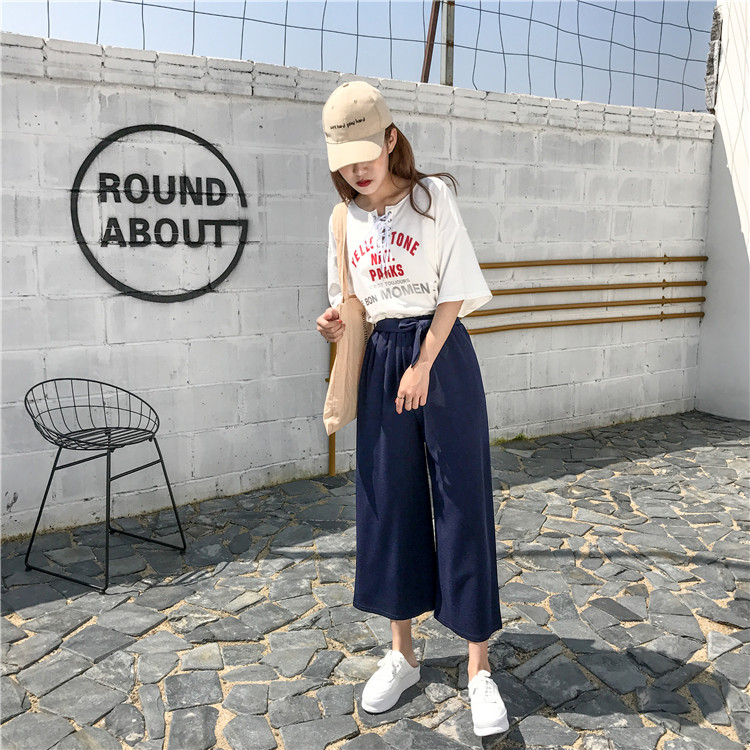 19 Women Casual Loose Wide Leg Pant Womens Elegant Fashion Preppy Style Trousers Female Pure Color Females New Palazzo Pants 48