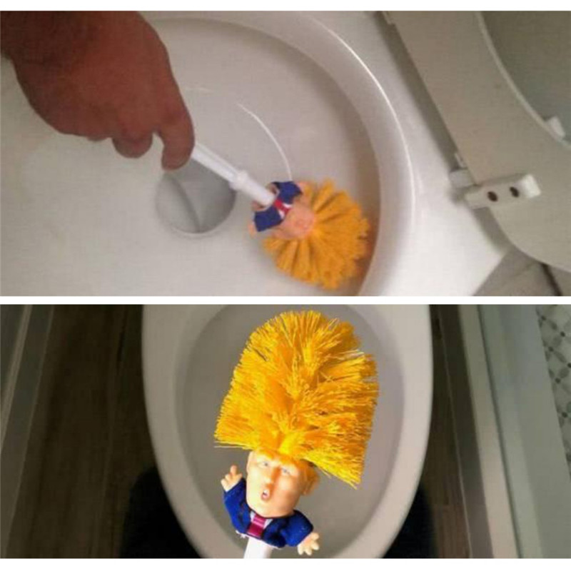 Dropshipping Funny Donald Trump Macron Toilet Brush Two Style Cute Brush Plastic Novelty Household Products Gift For Your Family