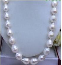 Women Gift Freshwater women's jewelry Solid Gold Cultured Pearl HUGE 10-12MM WHITE BAROQUE PEARL NECKLACE 85CM 34″