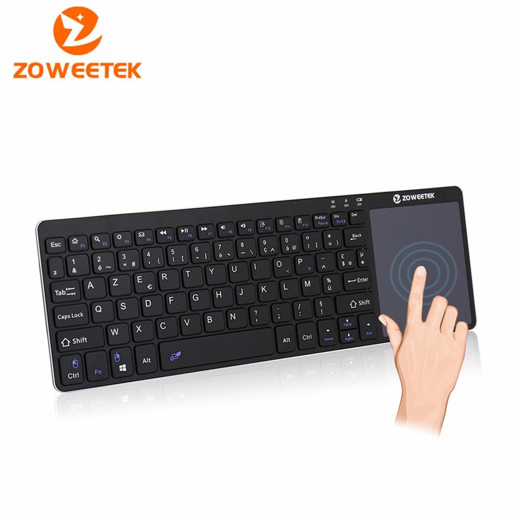 Zoweetek K12-1 Mini Keyboard 2.4G Wireless French Keyboard touchpad Design for PC Android TV Box HTPC Black Handheld Keyboard rapoo 8300 2 4ghz htpc wireless keyboard