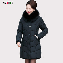 2016 Middle aged winter jackets and coats TOP quality abrigo mujer invierno women Wadded warm Outwear Hooded Faux Fur Collar
