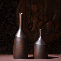 Southeast Asian Style Ornaments Original Ecology Creative Thin Mouth Wood Color Solid Wood Vase Home Decoration