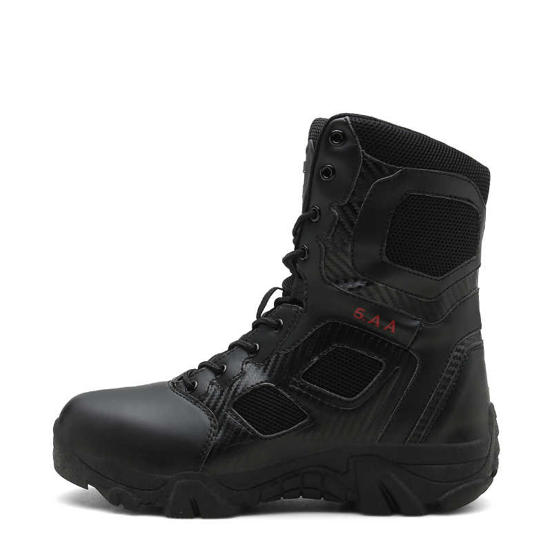 9d08dc15387 KOZLOV Military High Ankle Boots Men Genuine Leather Casual Safety Work  Shoes Men Army Tactical Hunting Boots Black Askeri Bot