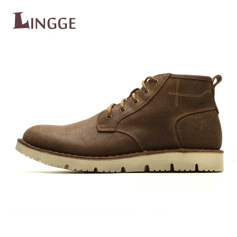 c599092d Cuero Moda Zapatos Otoño Hombres Botines Para Auténtico Cómodo Brown  Impermeable 2018 Botas Calidad Nueva bronze ...