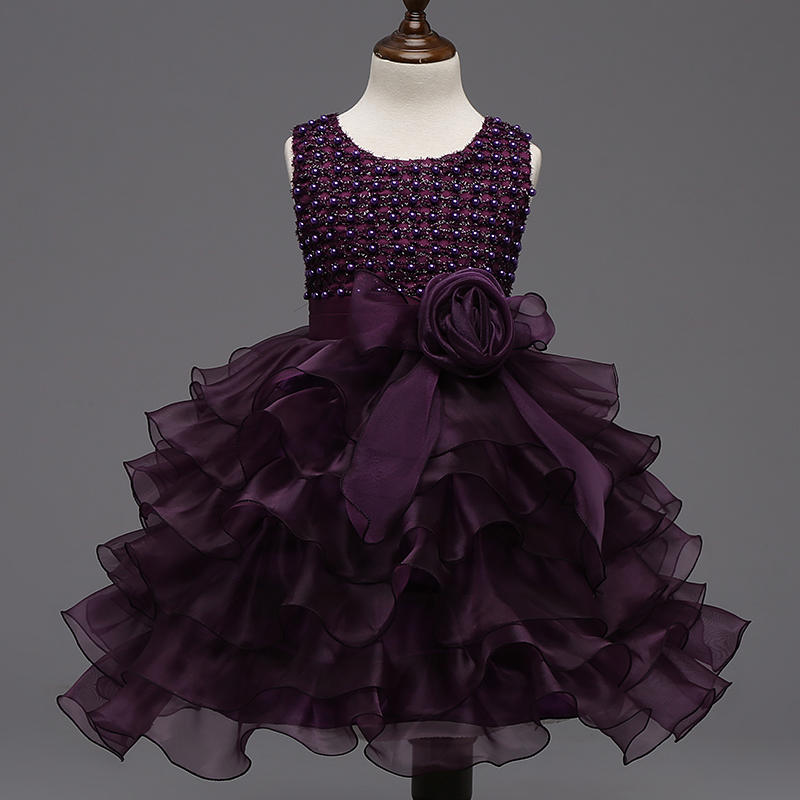 Elegant Purple Faux Pearl Girl Evening Dress Multilayer Wave Lace Big Bow Princess Dresses Girls Kids Party Birthday Clothing new high quality fashion excellent girl party dress with big lace bow color purple princess dresses for wedding and birthday