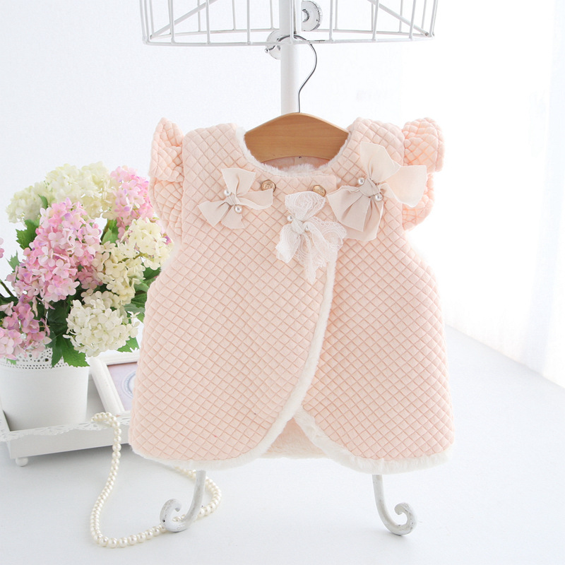 infant clothes 2018 winter kids Vest coat lovely Flying sleeves bow baby girls Plush vest jacket fashion girls winter clothes(China)