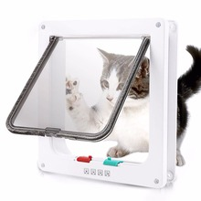 Cat Flap with Door 4 Way Locking Liner Mate ABS  Plastic White Security for Dog Kitten Small Pet Supplie Products