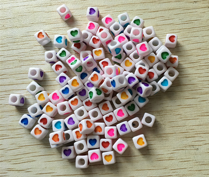 Earnest Wholesale 7mm/6mm choose Size White Acrylic Cube Beads With Mix Color Heart For Jewelry Making hole:4mm