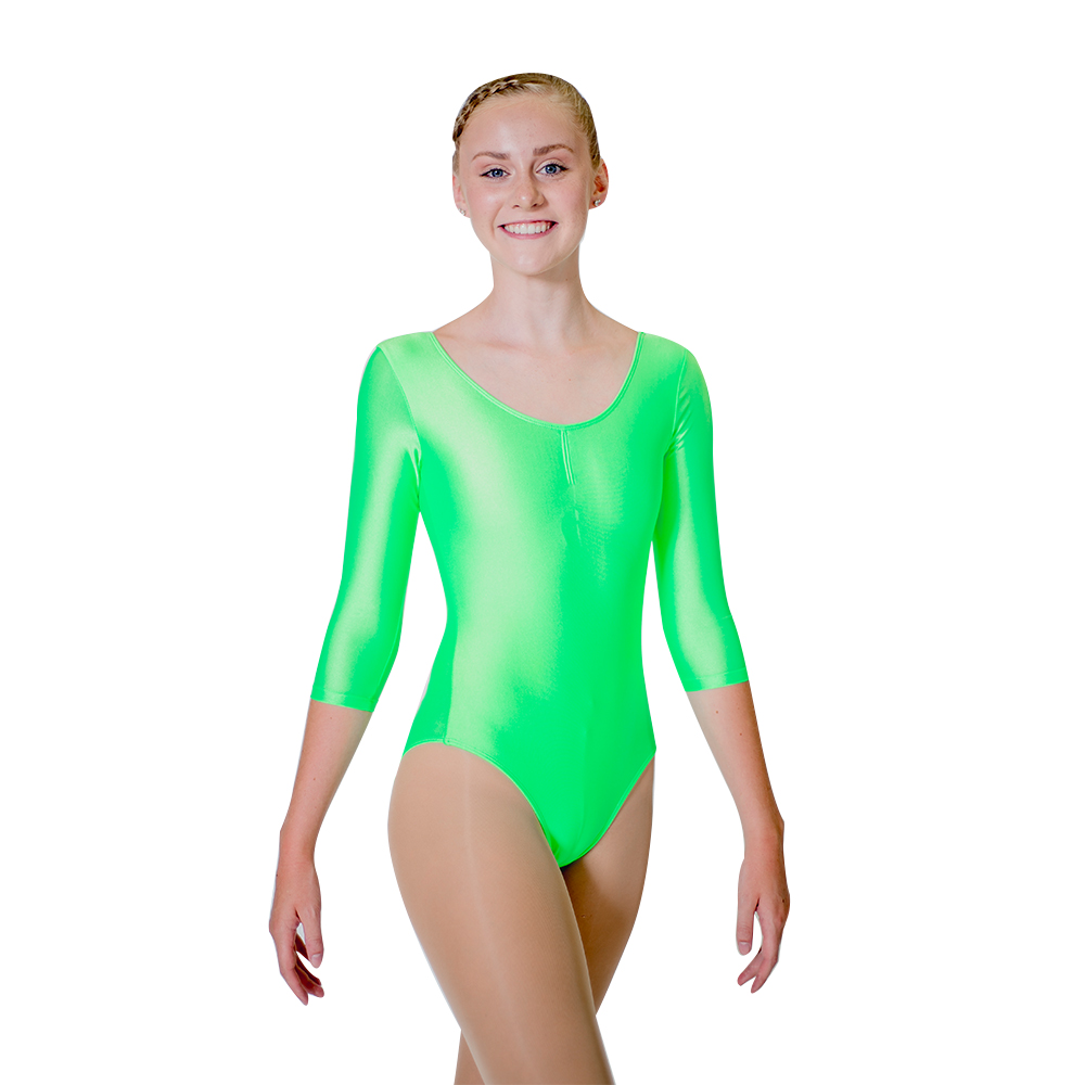 d345c1389515 Wholesale Green Shiny NylonLycra 3 4 Sleeves Ballet Dance Leotards ...