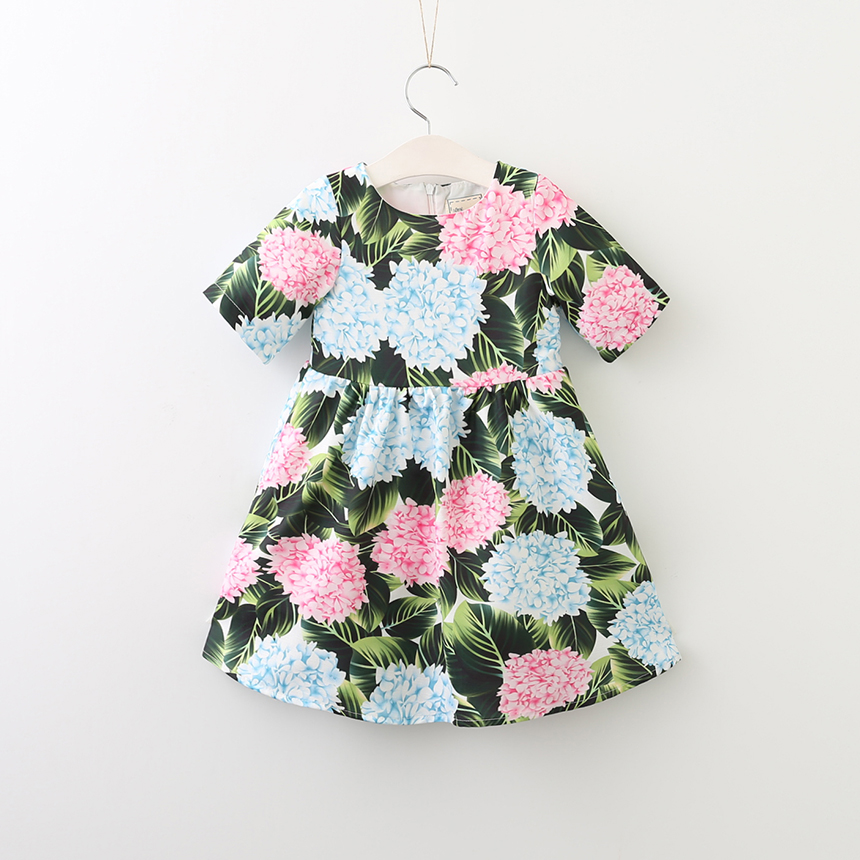 Baby Girls Clothes Short Sleeve O-Neck Collar Dresses Children Lolita Style Summer Princess Flower Floral Clothing 6pcs/LOT
