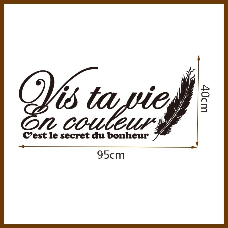 Stickers muraux Citation Française Vis Ta Vie En Couleur Stickers - Décor à la maison - Photo 6