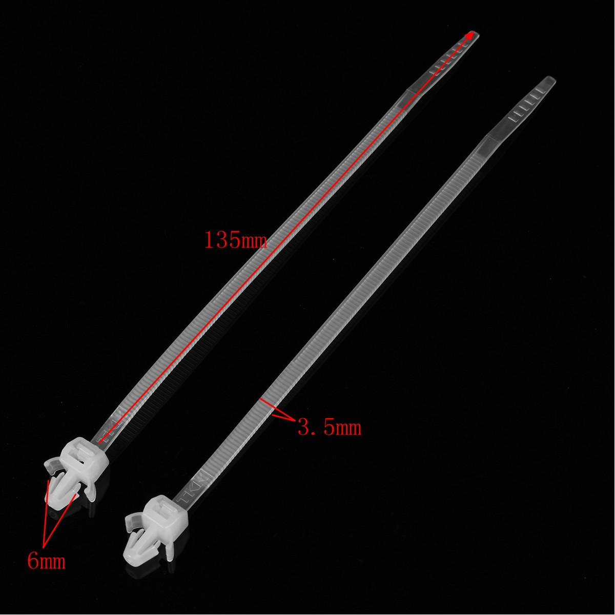 50pcs 135*3.5mm Car Nylon Cable Ties Wraps Zip Clamp General Car Fastener Cable Fixed Clips White