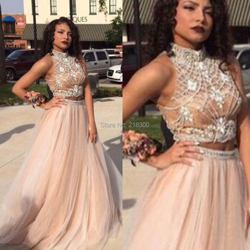 Aliexpress.com : Buy Beaded Champagne Two piece prom dresses ball ...